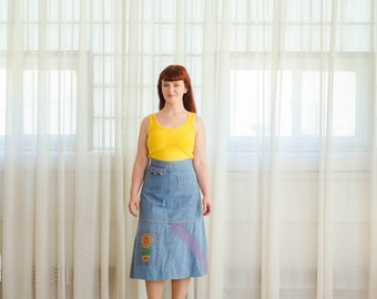 1970s Denim Skirt - Vintage 70s A-Line Skirt - Best Day Denim Skirt