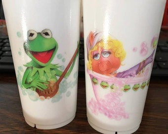 1987 Muppets Kermit and Miss Piggy Cup Set
