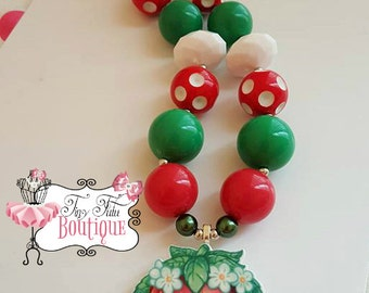 SHOPKINS STRAWBERRY KISS Chunky Necklace- Chunky bubblegum necklace, Girls chunky necklace, Gumball necklace