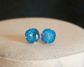 Handmade Earrings Swarovski Ultra Blue Earrings Swarovski Blue Earrings Swarovski Cushion Stone Blue Crystal Earrings Blue Post Earrings
