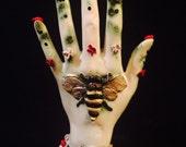 "ooak ""Honey Handed"" kiln fired stoneware clay handmade chiroligy palm"