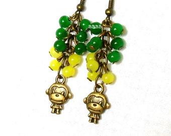 Monkey Earrings Green and Banana Yellow Earrings Cluster Earrings Dangle Drop Earrings Beaded Earrings Bronzed Surgical Steel Earwire Option
