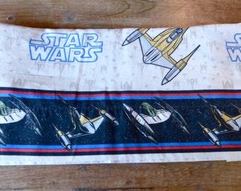 Vintage 1980's STAR WARS Flat Bed Sheet // 80s Star Wars Sheet
