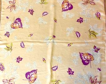 VINTAGE 50's Silk Leaf Motif Scarf! Gorgeous!