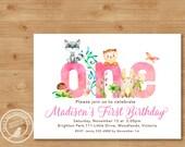 Woodland 1st Birthday Invitation | Girl Birthday Invite | 1st Birthday Woodland Party |  1st Birthday Digital | Printable DIY | 1515