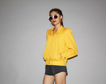 Vintage 1980s Cute Yellow Jacket - 80s Mustard Jacket - Cropped Jacket   - WO0665