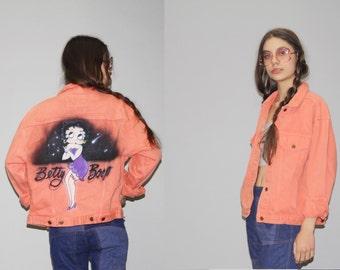 Vintage 80s  Peach Coral Airbrush  Denim Jean Jacket  -  1980s Vintage Denim Jacket  -  Vintage Air Brush Jean Jackets  - WO0609