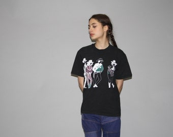1990s Vintage Country Western Cowboys and Cowgirls Line Dancing T Shirt - Vintage 90s Tees  - Vintage 1990s Tee - Wz0613