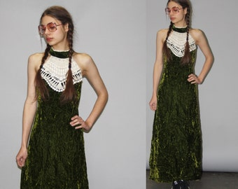 Vintage 1960s Moss Green Crushed Velvet and White Crochet Boho Hippie Festival Maxi Dress -  1960s Maxi Dress - 60s Maxi Dresses  - WD0712