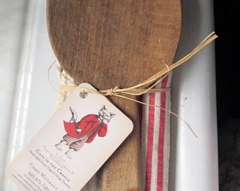 Vintage French Wood Paddle and Tea Towel