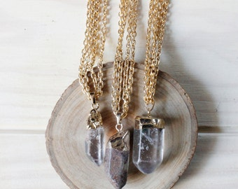 Celadonite Quartz Point Necklace/ Gemstone Necklace/ Mineral Necklace/ Mineral Natural Stone Pendant/ Boho Chic Cute Indie Hippie (NPG75)