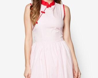 Pink Cheongsam Dress, Pink Qipao, Modern Cheongsam, Simple Cheongsam, 1960s Dress, Oriental Dress, Cotton Cheongsam, Modern Qipao