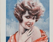 1923 Amazing 20s PIN UP Antique print from art deco era. 20s pin up near sea, a Diva