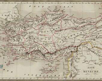 1830 ASIA MINOR Antique map. historical map, old Turkey, Mesopotamia (Iraq) Very elegant. Original antique map + 150 years old
