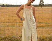 Vintage 50s Ivory Cream Slip Dress with Side Slit and Leaf Lace Detail