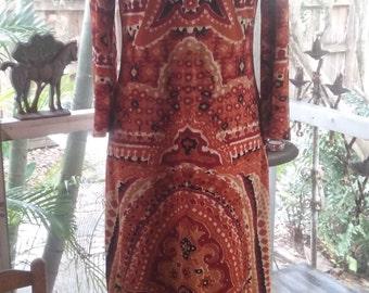 70s Print VELOUR MAXI Dress—Stretch Velvet—Boho—Amazing Print—Crewneck—Back Zip—Size 8