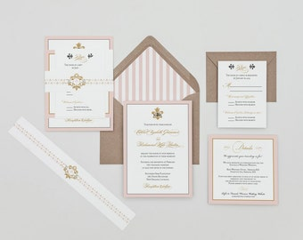 Romantic Fleur De Lis Wedding Invitations Deposit,French Baroque Fleur De Lis Wedding Invitations set,Blush French Wedding Invitation Set