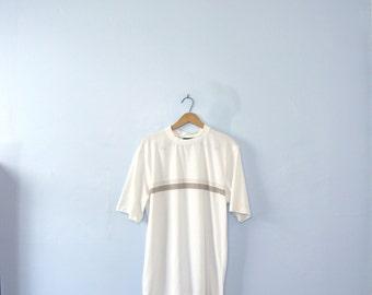 Vintage 90's striped white tee, white shirt, size large
