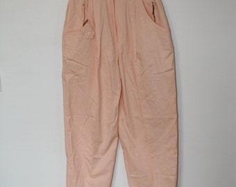 Deadstock 80s peach pink trouser pants with zippers size xs 25