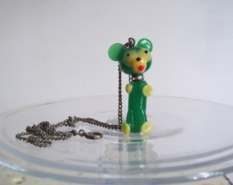 Vintage blown glass dog charm pendant necklace childs necklace or choker with rhinestones free shipping to USA