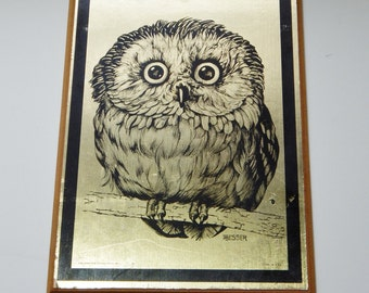 Vintage Owl Litho Metallic Gold Arne Besser Wide Eyed Owl 60's Mid Century Kitsch Art Decor Soroka Sales USA
