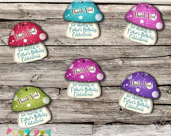 Unicorns & Fairies High Tea - Magic Toadstool Thank You Tags - Printable - Digital File - EDITABLE - Instant Download