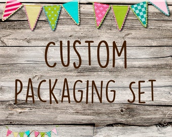 CUSTOM MADE Complete Packaging Set for your shop or business - Printable - Customised - Your theme - Your Logo - Your Colours