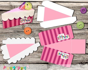 2 Piece Lalaloopsy Style Cake Slice Box - Cake Box - Wedding Cake Box - Display Box - Printable - Digital File - INSTANT DOWNLOAD