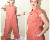 Vintage 1940s Top and Pants Set in Coral Pink / 40s Playsuit Ensemble White Stag Peach Cotton Canvas