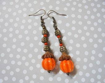 Orange Pumpkin and Leaf Earrings (2308)