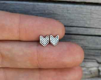 Little Sterling Silver Studs - Tiny Chevrons