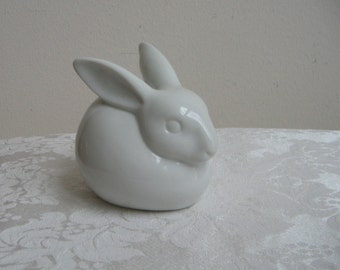 Vintage Chubby White Bunny Rabbit Statue Bank By Renaldy's Fine China Japan, Easter Spring Decoration