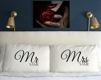 Personalised (add your name) MR & MRS RIGHT Pillow Case Funny Perfect  Gift  Wedding