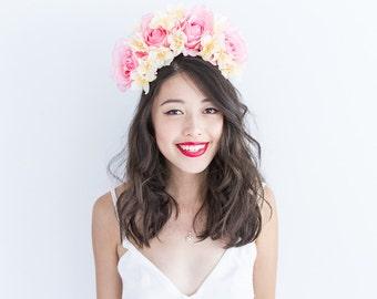 light pink and cream yellow statement full flower crown headband // Daisey / springtime floral headpiece, garden wedding summer bride