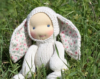 """Waldorf doll White (natural) Bunny 8,5"""" Gifts for Children, Toddlers Newborn Girls Boy Children birthday knitted toy kids gift Easter"""