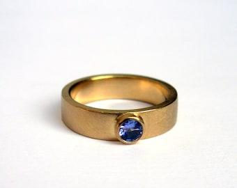 Tanzanite 18 Karat Gold Ring - Made To Order In Your Size - 18K Gold Stacking Ring - 5mm Gold Stacking Ring - 18K Recycled Gold Unisex Ring