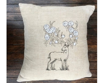 Deer Antlers Throw Pillow Cover, Stag Natural Beige Linen Cushion Cover UK, Rustic Farmhouse Cabin Decor, House Warming Gift