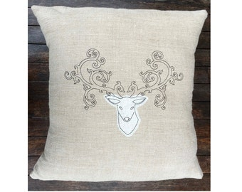 Deer Antlers Throw Pillow Cover, Stag Natural Beige Linen Cushion Cover UK, Rustic Cabin Decor, Black Embroidery, House Warming Gift