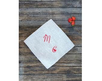 Personalized Red Valentine Linen Napkin 18, 22 inch, Luxury Natural Gray Large Clother Dinner Serviette, Wedding Shower Engagement