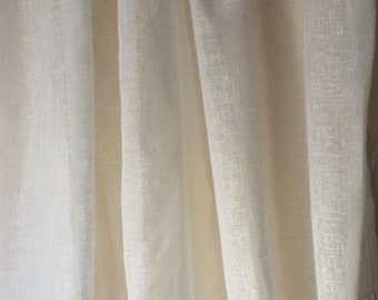 Tall Ivory Sheer Linen Lace Curtain, Bedroom Panel, Cream, White, Natural