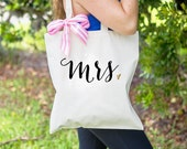 Gift for Bride - Mrs Bag for Wedding or Bridal Shower Gift, Tote Bag for Newlywed Bag for Wedding Tote Bag for Bridal Party ( Item - BMR300)