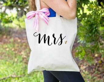 Gift for Bride - Mrs Bag for Wedding or Bridal Shower Gift, Tote Bag for Newlywed Bag for Wedding Tote Bag for Bridal Party ( Item - BMR300)