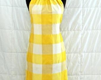 vintage silk halter dress - 1960s yellow/white plaid silk dress