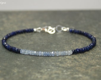 Sapphire Ombre Bracelet, Shaded, Sapphire Jewelry, September Birthstone, Something Blue, Gemstone Bracelet