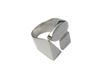 Sterling Silver Geometric Ring Triangle Ring Square Ring Circle Ring. Geometric Jewelry 925