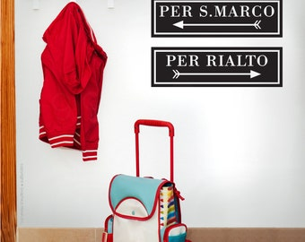 """Wall decals """"Per Rialto"""" & """"Per S.Marco"""" SIGNS - ITALY VANICE inspired wall decor - Interior wall stickers"""