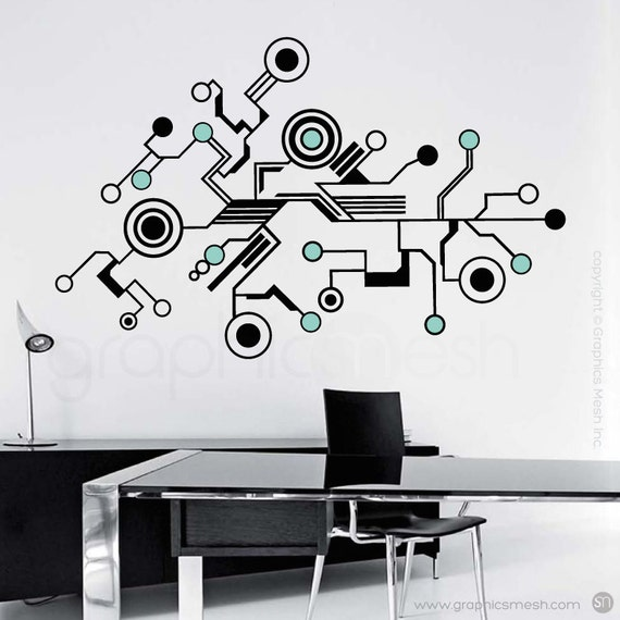 Wall Decals LARGE TECH SHAPES Abstract Circuit Shaped Vinyl - Wall decals large