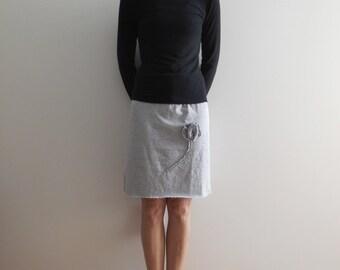 Gray T-Shirt Skirt Womens Skirt Cotton Skirt Knee Length Skirt Soft Recycled Upcycled Handmade Fashion Skirt For Her Summer Fall ohzie