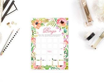 INSTANT DOWNLOAD - Bridal Bingo  / Tropical Luau Floral Bridal Bingo Game Card