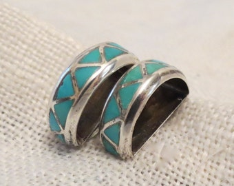 Inlaid Turquoise & Sterling Clip On Earrings